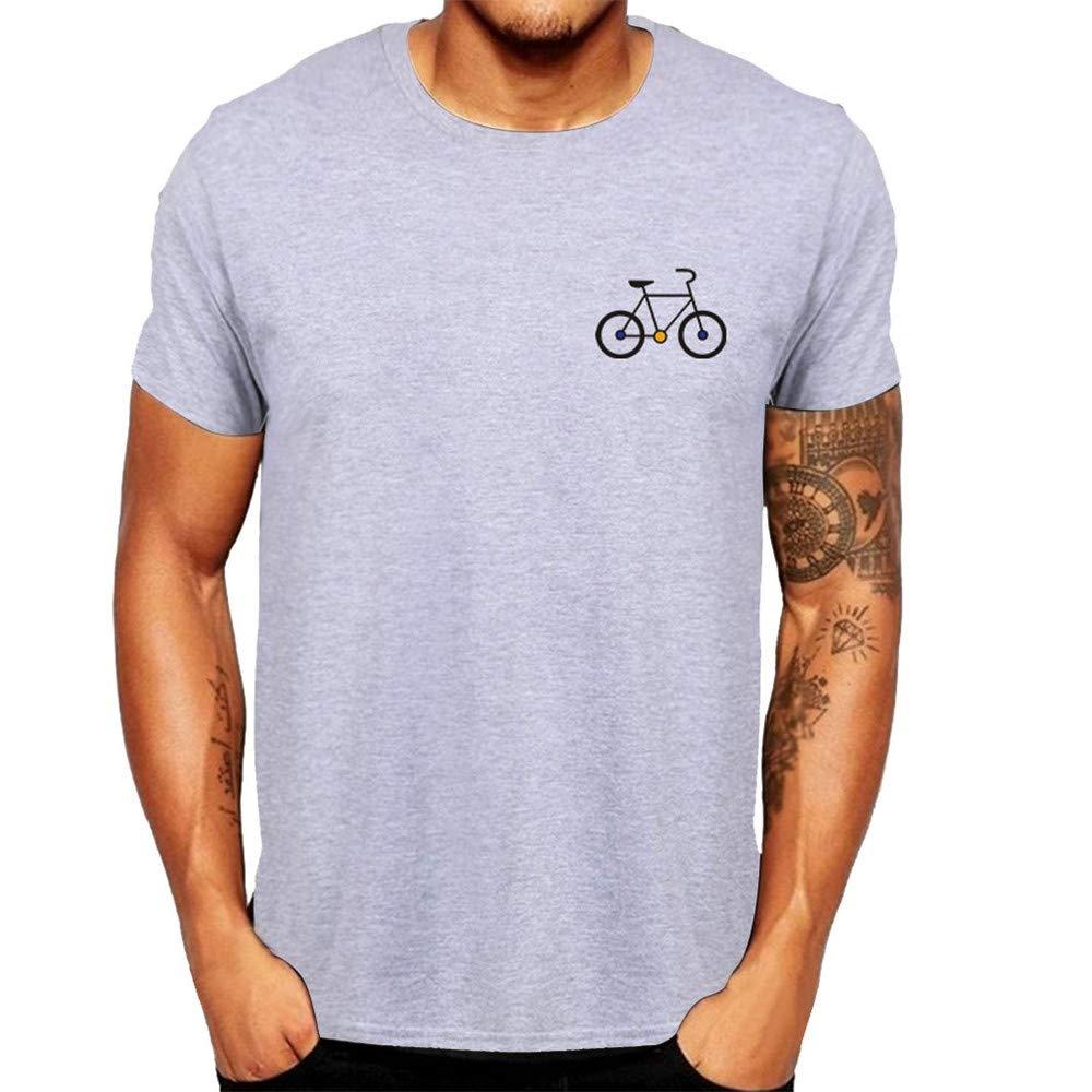 Cathalem Men's New Cartoon Bicycle Patterns Printed T-Shirt Top Blouse Top Short Sleeve Graphic Tees Shirts