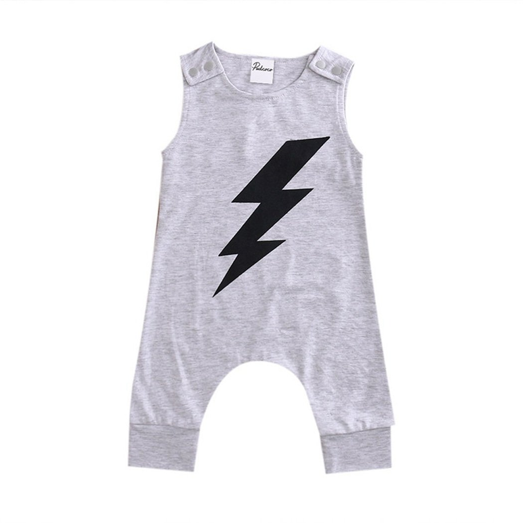 FUNOC Baby Boy Girl Lightning Pattern Sleeveless Romper Jumpsuit Summer Outfit FUNOC*2662166