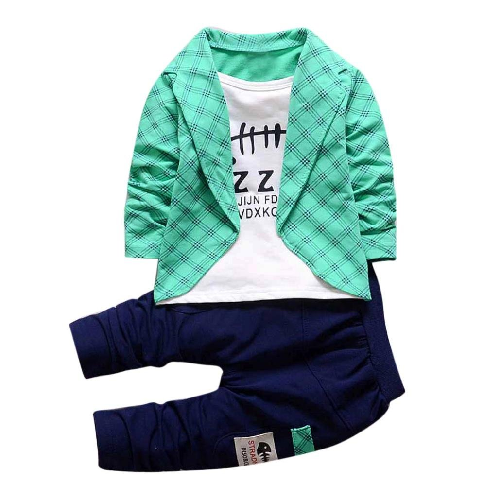 YANG-YI HOT, Fashion Toddler Baby Handsome Boys Kids Gentleman Set Shirt Tops+ Long Pants Outfits (Red, 100cm/3T)