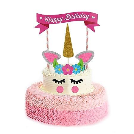 Unicoco - Set de decoración con unicornio para tartas, pasteles, fiestas de cumpleaños
