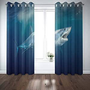 Shorping 52X84 Inch 3D Window Curtains, Privacy Window Curtain Shark Short Fin Window Blackout Curtains for Bedroom,2 Pc