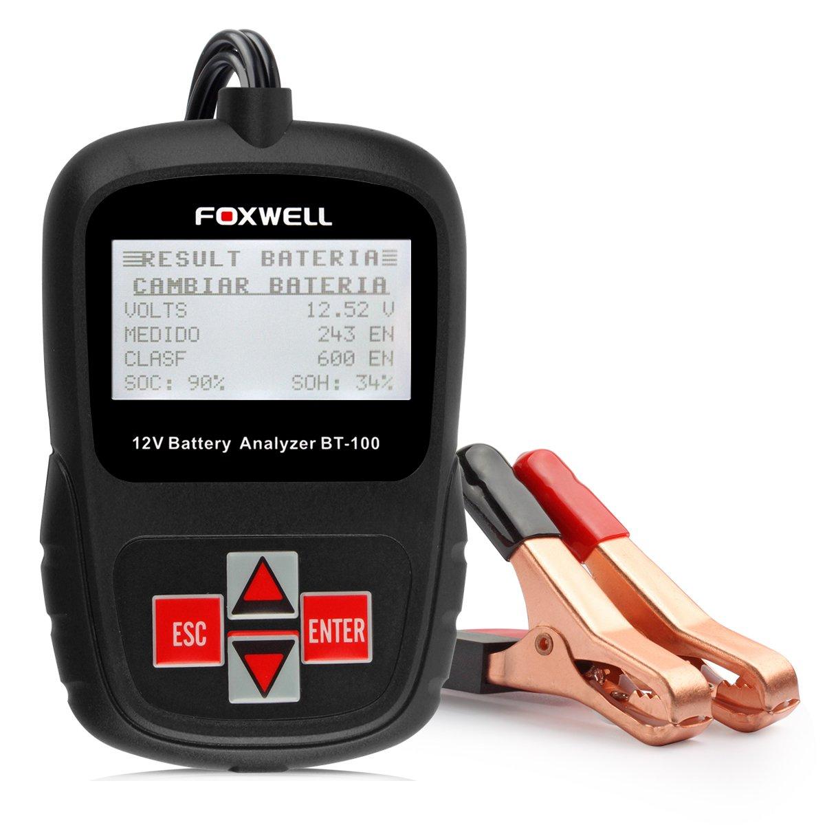 Foxwell Battery Analyzer BT100 Pro 12V 100-1100 CCA testeur de charge de batterie détecter régulièrement inondé, AGM plate, AGM spirale et gel Batteries santé directement