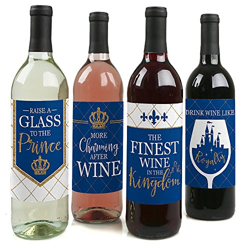 Royal Prince Charming - Baby Shower or Birthday Party Decorations for Women and Men - Wine Bottle Label Stickers - Set of 4 ()