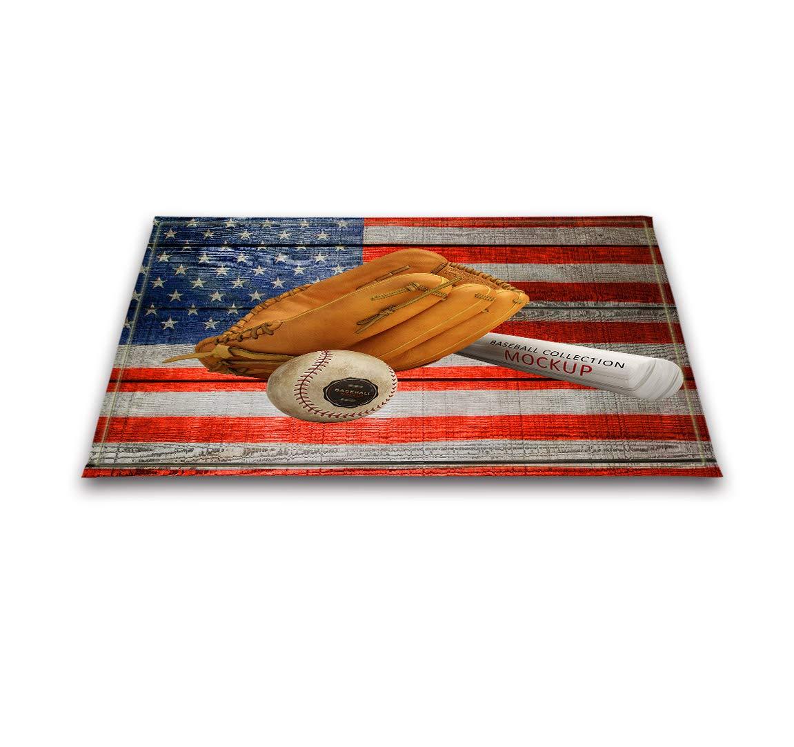LB Deportes Alfombra de baño Guante de béisbol y Bate en Bandera Americana Suave Absorbente Lavable Alfombra del Piso para Cabina de Ducha Baño ...