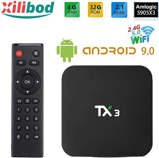 Xilibod Android 9.0 TV Box 4GB RAM/32GB ROM, S905X3 64-bit quad core ARM, G31™ MP2 GPU processor,H.265 Decoding 2.4G/5G dual-band Wifi Smart TV Box: Amazon.es: Electrónica
