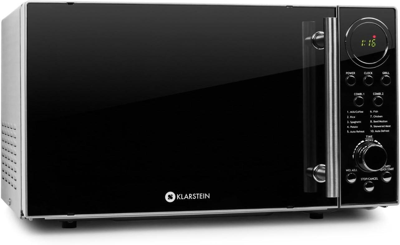 Klarstein Luminance Prime - microondas, 20 l cámara de cocción, microondas con función de parrilla, 12 programas, acero inoxidable, recubrimiento frontal semireflejante, negro-plateado