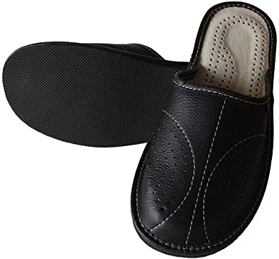 Slippers World Mens Leather Slippers