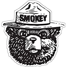 "StickyChimp Smokey the Bear Firefighting WILDFIRE sticker 4"" x 4"",Black"