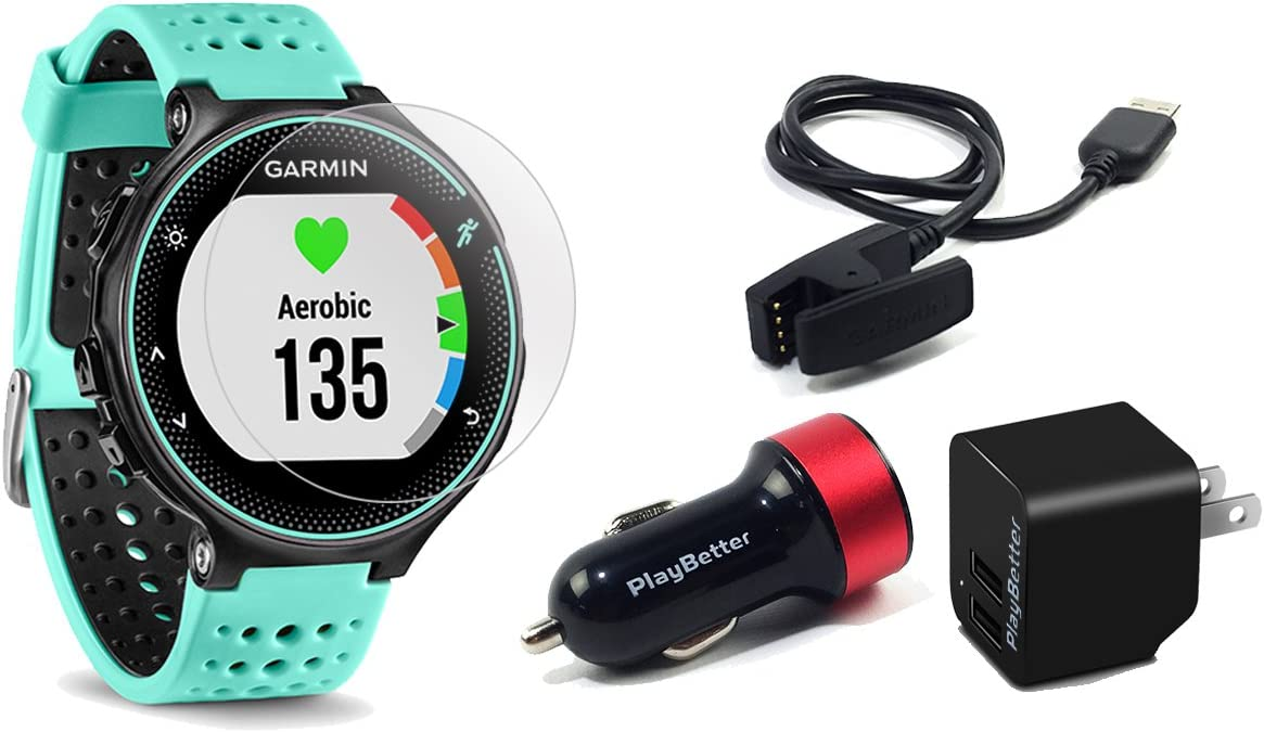 Garmin Forerunner 235 Frost Blue GPS Running Watch Bundle with HD Screen Protector Film x4 PlayBetter USB Car Wall Adapters On-Wrist Heart Rate Elevate Heart Rate Technology VO2 Max