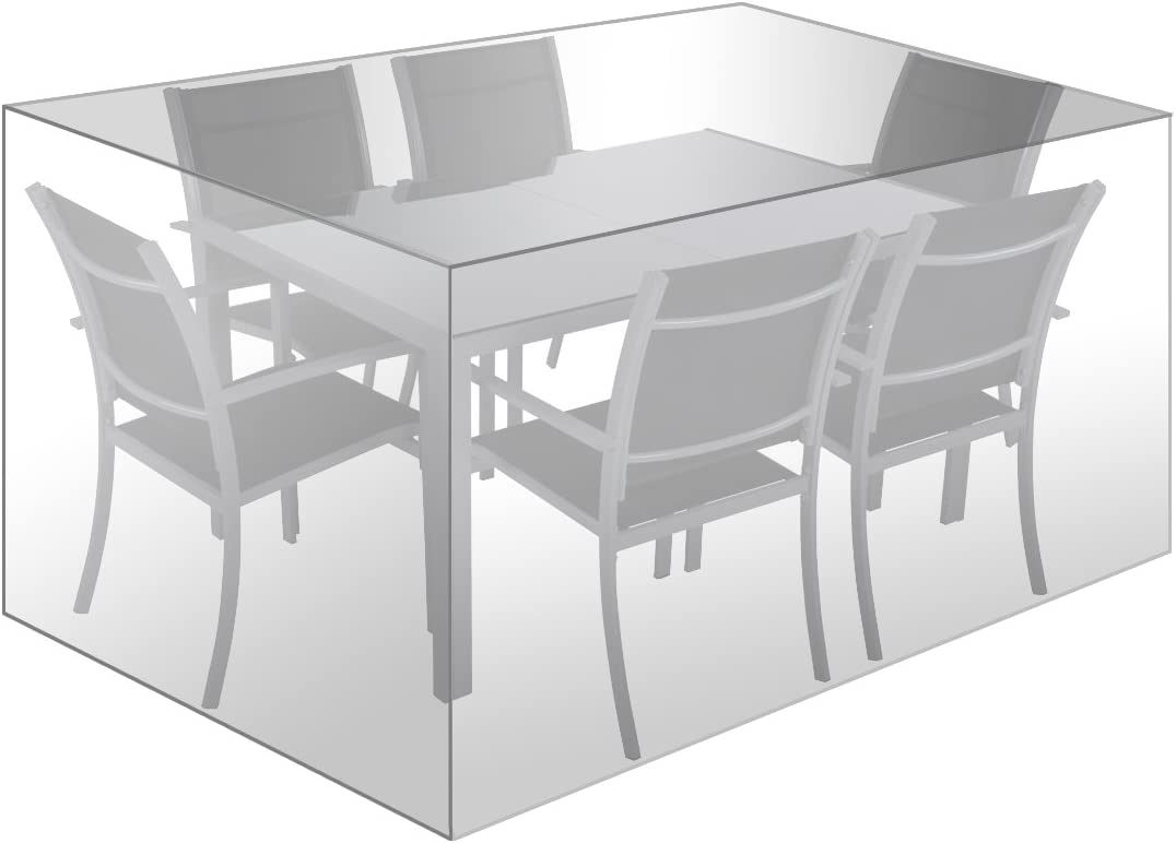 WOLTU Funda para Muebles de Jardín Cubierta Protectora Exterior de Polvo para Mesa contra Viento Lluvia Sol Protección UV Impermeable 242x162x100cm Tansparente GZ1194tp: Amazon.es: Jardín