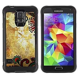 LASTONE PHONE CASE / Suave Silicona Caso Carcasa de Caucho Funda para Samsung Galaxy S5 SM-G900 / Pattern Floral Gold Rustic Wallpaper