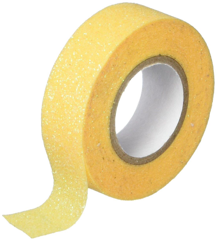 Cinta con pegamento amarilla con glitter (5 metros)