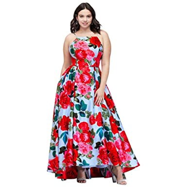David\'s Bridal Pleated Lace-Up Floral-Printed Plus Size Prom ...