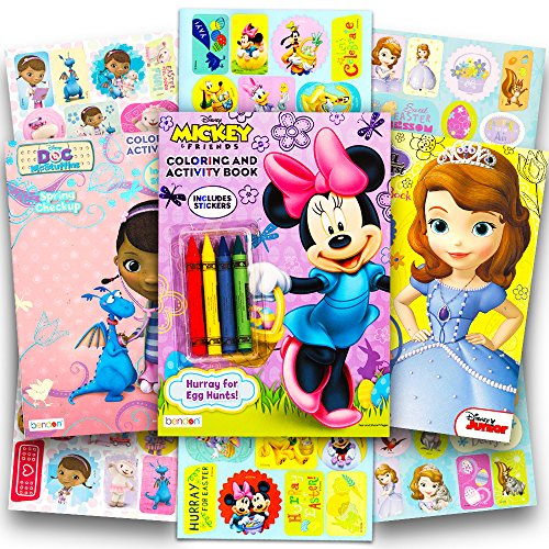 Disney Easter Coloring Books Super Set with Stickers (3 Books Featuring Minnie Mouse, Mickey Mouse, Sofia the First and Doc Mcstuffins)