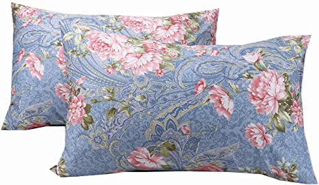 Yih Floral Pillow Cases Standard Size Cotton Blue Queen Size Ultra Soft Pillow Shams With Envelope Closure Home Kitchen