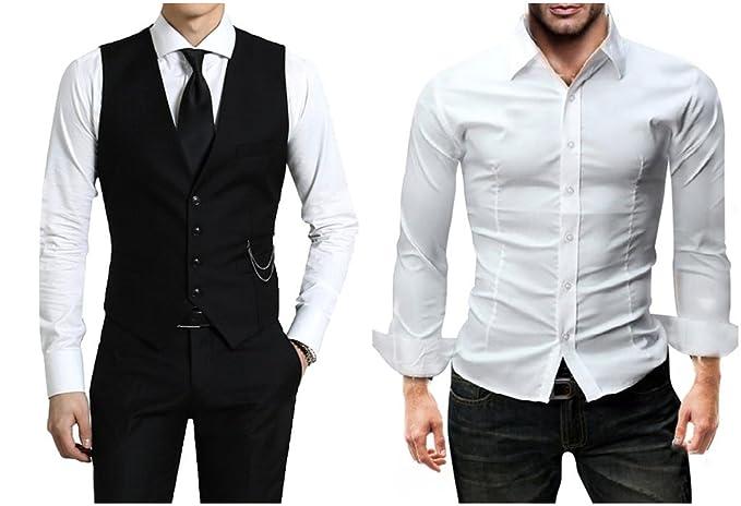 Weißes Hemd mit Weste