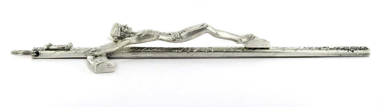 Ferrari /& Arrighetti Crocifisso Pastorale Giovanni Paolo II da Parete in Metallo Argentato 26 cm