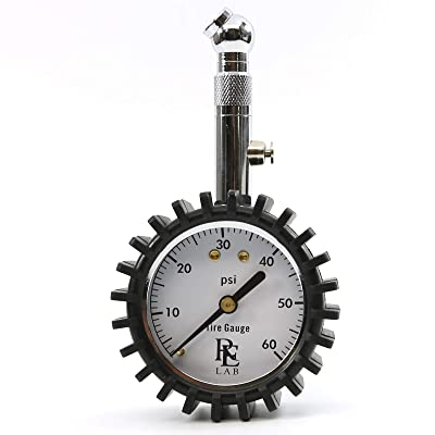RE LAB INC. Compact Tire Pressure Gauge with Integrated Hold Valve - 60PSI: Automotive