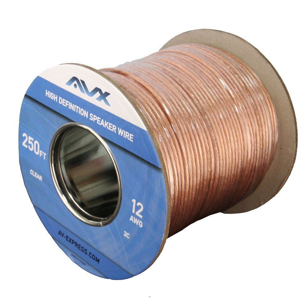 AVX Audio - 12 Gauge Speaker Wire, 99.9% Oxygen Free Copper - 250 Feet - 110-1110