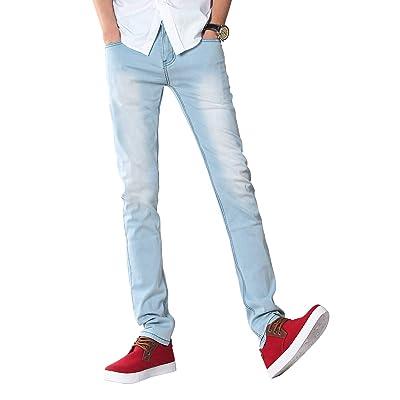 Demon&Hunter Men's Blue Skinny Stretch Jeans Slim Fit Pencil Pants S8L08 at Men's Clothing store