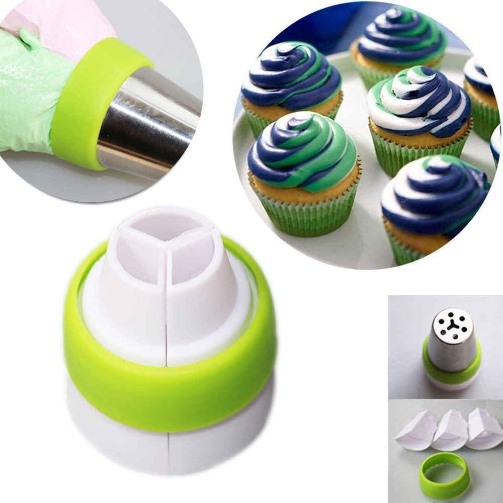 Srasi Russian Piping Tips Nozzles Premium Pastry Cake Decorating Tool Set of 8(6 Russian Tips 1 Reusable Tissue Pastry Bags 1 Tri-Color Coupler)