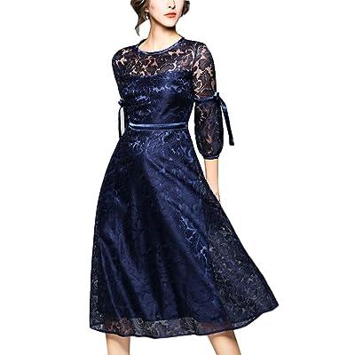 4URNEED Rundhals 3/4 Aermel Damen Abend Party Kleid Lace Spitze Cocktailkleid Partykleid Skaterkleid Midikleid Blau