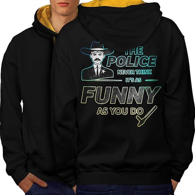 12db01c35cd4 Amazon.com  wellcoda Police Joke Mens Contrast Hoodie