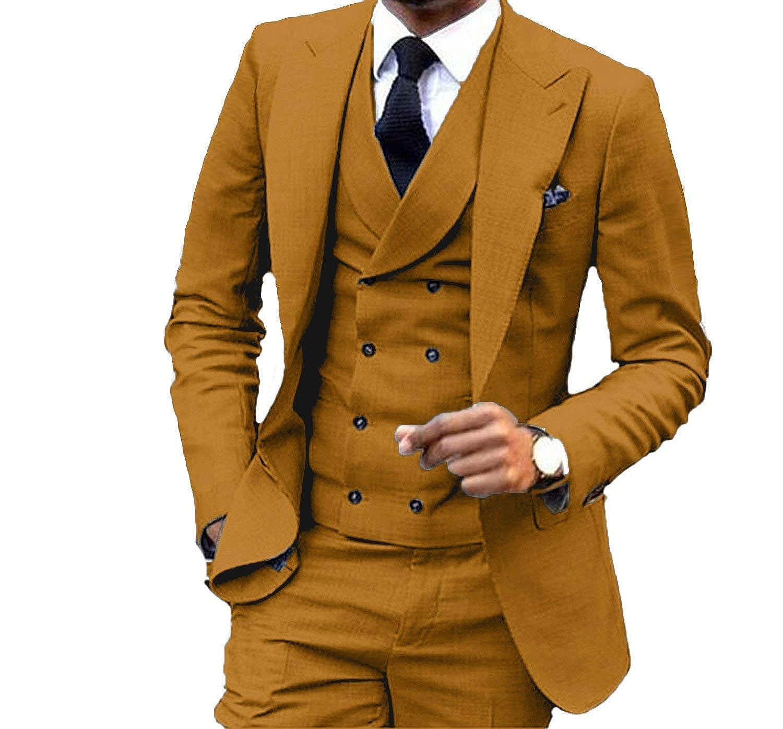 YSMO Mens Slim Fit Suits Vest Business Tuxedo Three-Piece Jacket Pants Vest Set