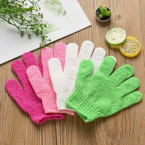 YunZyun 4Pcs Bath Gloves Exfoliating Wash Skin Gloves Spa Bath Gloves Foam Skid Resistance Body Massage Cleaning Loofah Scrubber for House Bath and Massage (Multicolor)