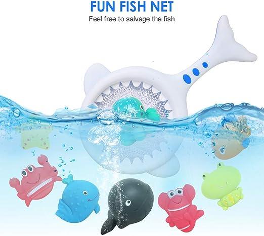 BeebeeRun 9PCS Jouets de Bain, 8 Animaux Marins et 1 Filet de Pêch Jeu de Pêche Jouets de Piscine Animaux Flottants pour Bébés Enfants Filles Garcons