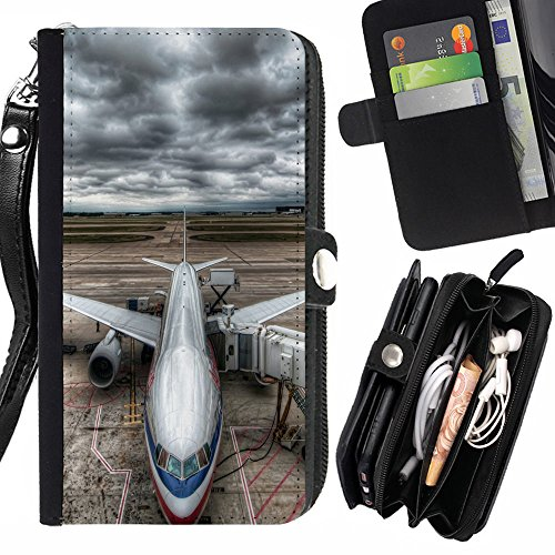 STPlus Airplane At Airport Wallet Card Holder with Strap and Zipper Cover Case for Sony Xperia - Airport T3