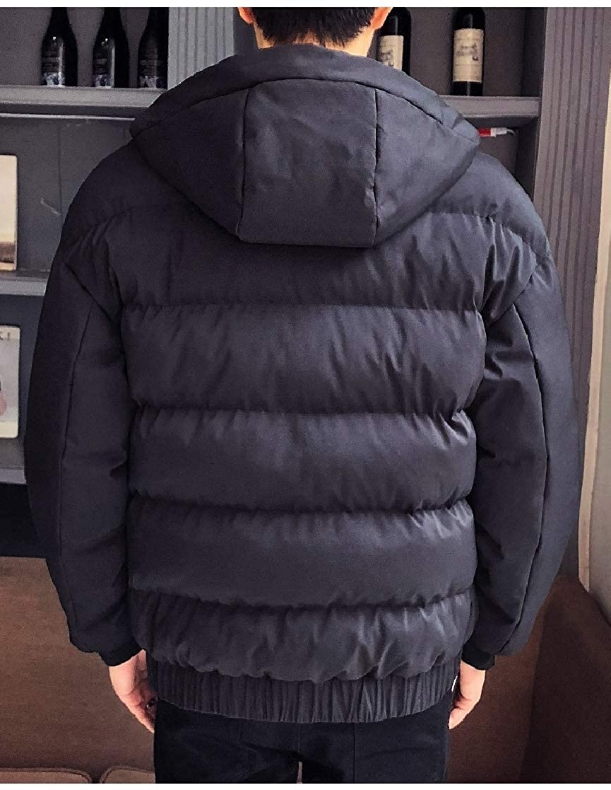 YUNY Mens Oversize Short Hood Open Front Lounge Puffer Jacket Black 2XL