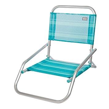 AKTIVE 53961 Silla Plegable Fija Aluminio Beach, 66 x 47 x 54 cm, Azul Claro