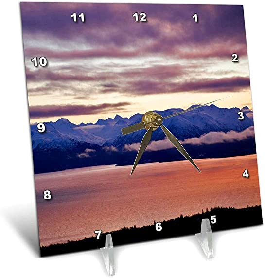 3dRose Kachemak Bay, Kenai Mountains, Homer, Alaska US02 AJE0018 Adam Jones Desk Clock, 6 by 6