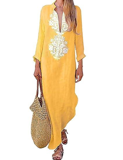 Mujer Verano De Playa Vestido Estampado Vestido De Lino Y