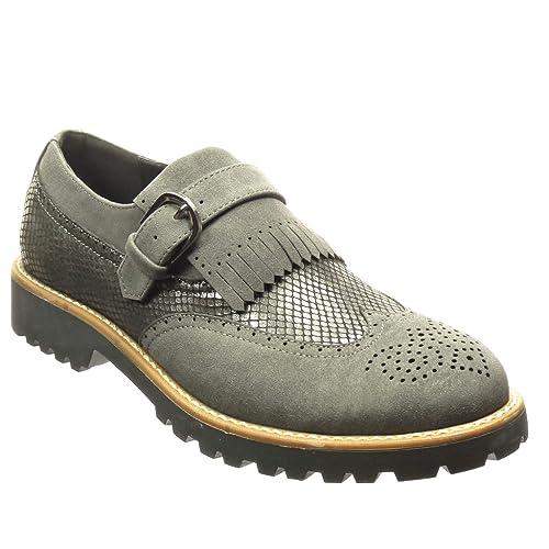 Angkorly Zapatillas Moda Mocasines Zapato Derby Bimaterial Slip-On Mujer Piel de Serpiente Fleco Hebilla Tacón Ancho 3 cm cm: Amazon.es: Zapatos y ...