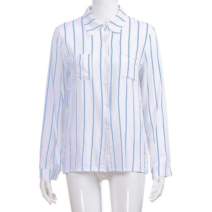 ... Suelto Ocio Camisa Top,Belasdla Camisa de Rayas con Botones de Manga Larga para Chicas Camisa de Bolsillo con Camisetas: Amazon.es: Ropa y accesorios