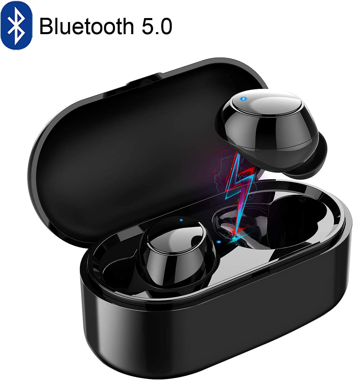 Wireless Earbuds Bluetooth 5.0 Headphones with Microphones Charging Case Waterproof Sport Wireless Earphones Noise Cancelling in-Ear Bluetooth Headsets Compatible with Android iOS iPhone Samsung Black