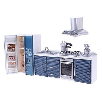 Sharplace 5 Stücke 1/12 Puppenhaus Miniatur Küchenmöbel Kochgeschirr  Elektrogeräte Kit   Blau
