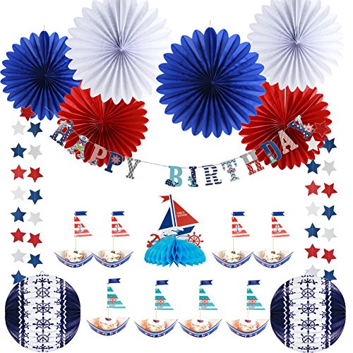 Easy Joy AHOY BOY Theme Nautical Birthday Party Decoration DIY Baby Shower Birthday Party Table Centerpiece Cake Toppers Sailor Party Supplies ()