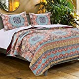 Quilt Set with Sham Brushed Microfiber Bohemian Boho Geometric Mandala Design Blue Yellow Orange Neutral Bedding Luxury Reversible Bedspread Single Twin Size – Includes Bed Sheet Straps