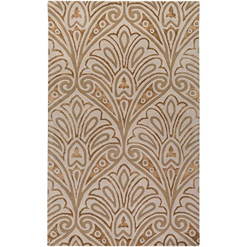 (Surya Bob Mackie Moderne MDR-1033 Classic Hand Tufted 100% New Zealand Wool/Viscose Silver Cloud 2' x 3' Paisleys and Damasks Accent Rug)