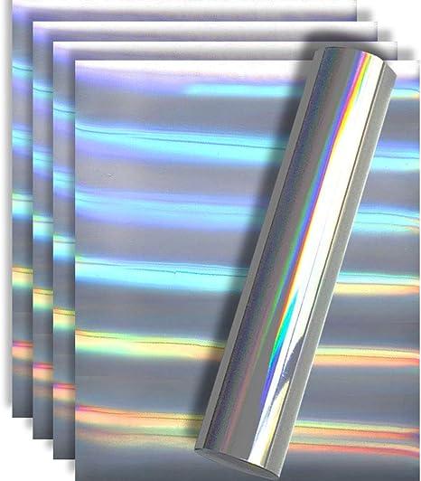 Holographic Heat Transfer Vinyl Roll 30.5x152cm HTV Spectrum Silver Rainbow Colo