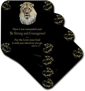 3dRose cst_42588_2 Joshua 1 Verse 9 be Strong and Courageous Illustrated with a Lion in Gold on a Black Background-Soft Coasters, Set of 8