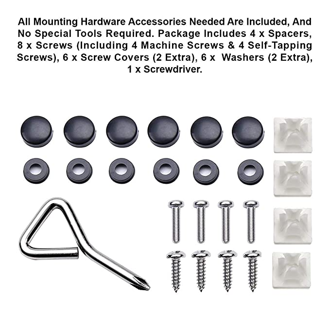 IHEX Auto 2 Pieces Replacement for Tesla Stainless Steel License Plate Frame with Screw Caps Cover Set Matte Black, Set of Front and Back
