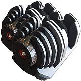 TOP FILM 可変式 ダンベル 40kg トレーニンググローブ セット アジャスタブルダンベル 5~40kg 17段階調節 ダイヤル 可変ダンベル トレーニング