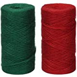 Tenn Well 3Ply Jute Twine, 328 Feet x 2 Rolls Thick Jute String Rope for Gardening, Bundling, Gifts, Decoration, DIY Crafts (Green, Red)