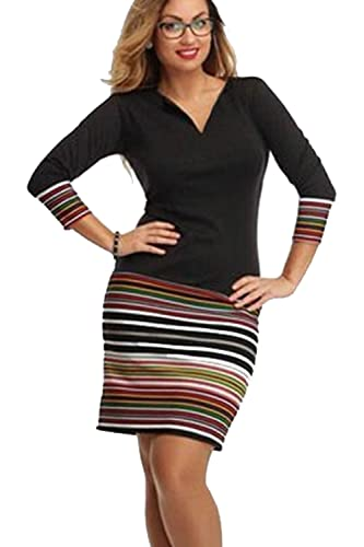 Yacun Women's OL Stripes Bodycon Office Dress