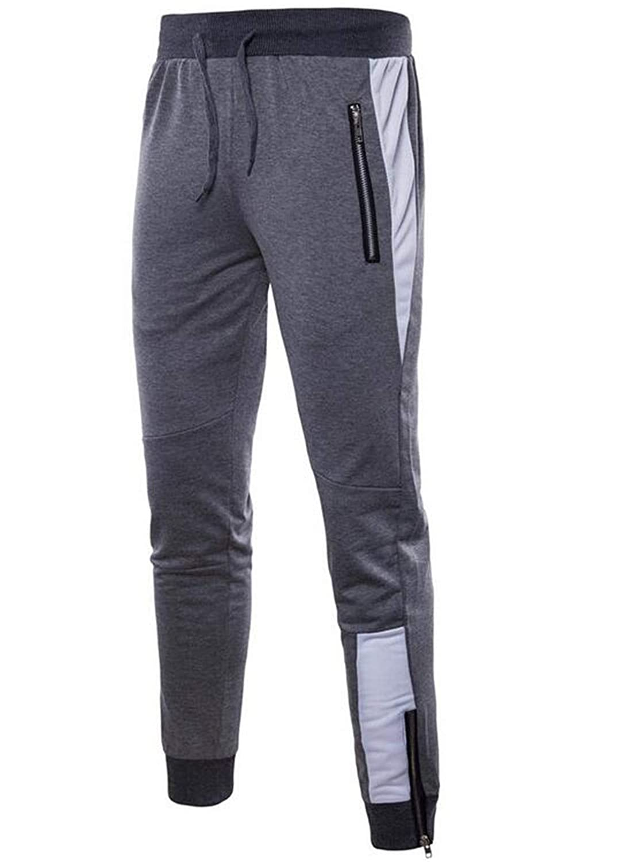 JXG Men Autumn Elastic Waist All-Match Straight Zip up Sweatpants Pants