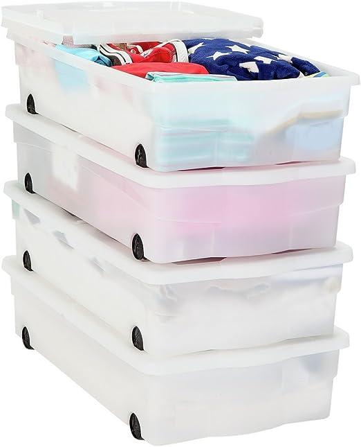 HOME Cajas de Almacenamiento de plástico para Debajo de la Cama con Ruedas, 4 Cajas.: Amazon.es: Hogar
